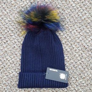 Navy Knit Hat with Fox Fur Pom